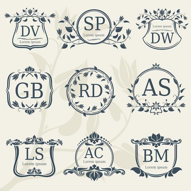 Винтажные элегантные свадебные монограммы с цветочными рамками Premium векторы