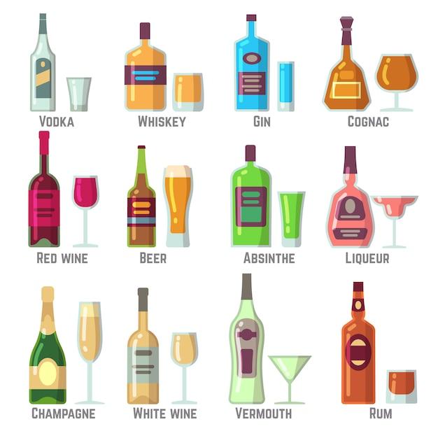 Алкогольные напитки в бутылках и стаканах плоских векторных иконок Premium векторы
