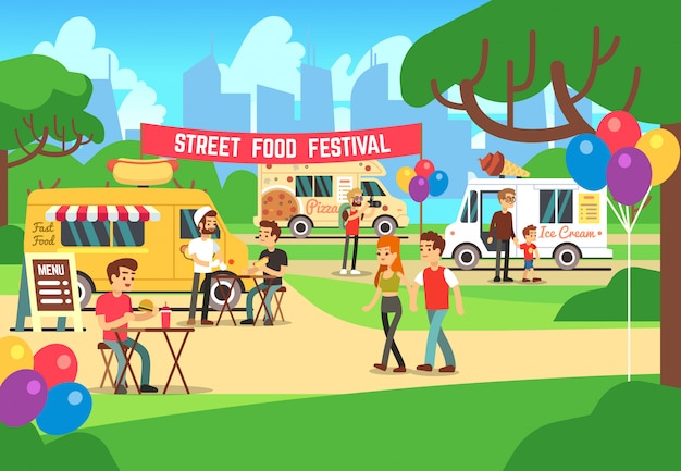 Фестиваль мультфильмов уличной еды с людьми и грузовиков векторный фон Premium векторы
