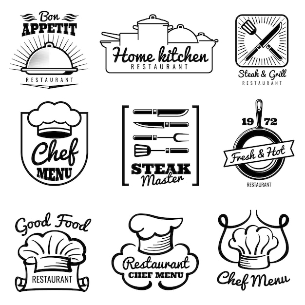 レストランベクトルヴィンテージのロゴ。シェフのレトロなラベル。キッチンのエンブレムで調理 Premiumベクター