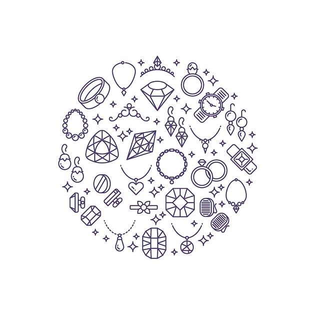ジュエリーと宝石ラインのベクトルのアイコン。宝石店の高級コンセプト Premiumベクター