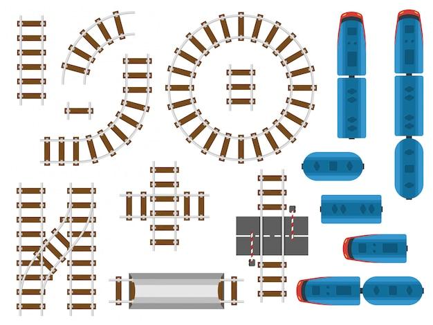 Вид сверху на железнодорожные пути и железнодорожный транспорт - поезда, вагон и вагон Premium векторы