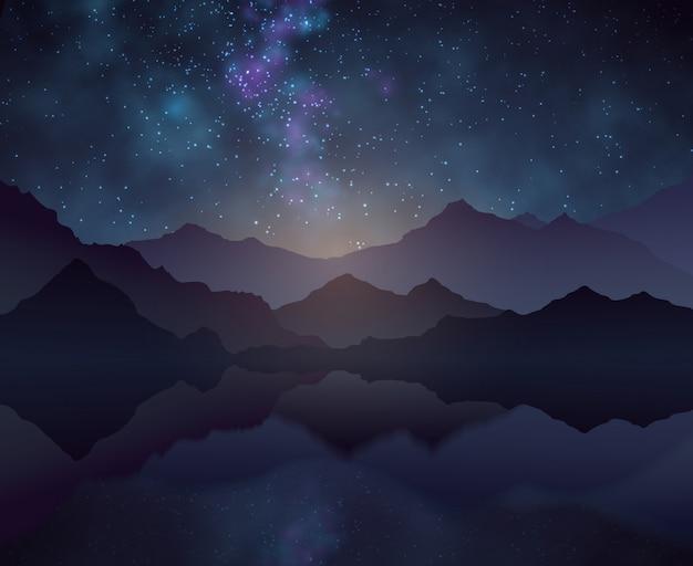 星空、山と水面と自然の夜のベクトルの背景 Premiumベクター