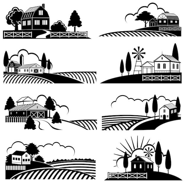 農場のシーンとヴィンテージの田園風景。木版画のスタイルのベクトルの背景 Premiumベクター