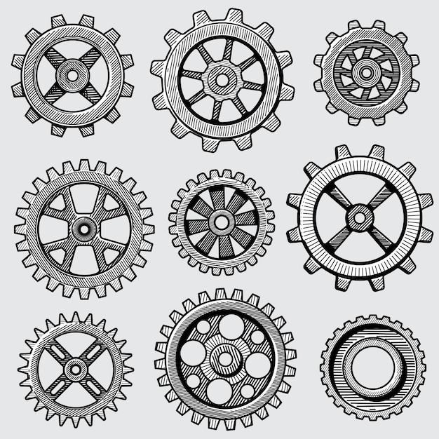 Ретро эскиз механических передач. ручной обращается старинные детали зубчатого колеса фабрики машины векторная иллюстрация Premium векторы