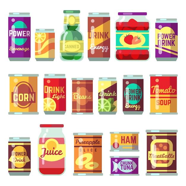 Консервы векторный набор. консервы, консервированный томатный суп и овощи. консервный контейнер из олова, консервированный томатный суп Premium векторы