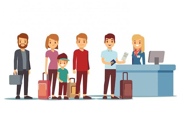 人々は登録デスクで空港に並ぶ。休暇や旅行のベクトルの概念 Premiumベクター