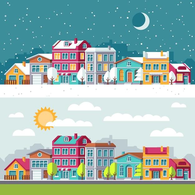 市と冬と夏の風景はフラットのベクトル図を住宅します。建物都市の景観建築町の通り Premiumベクター