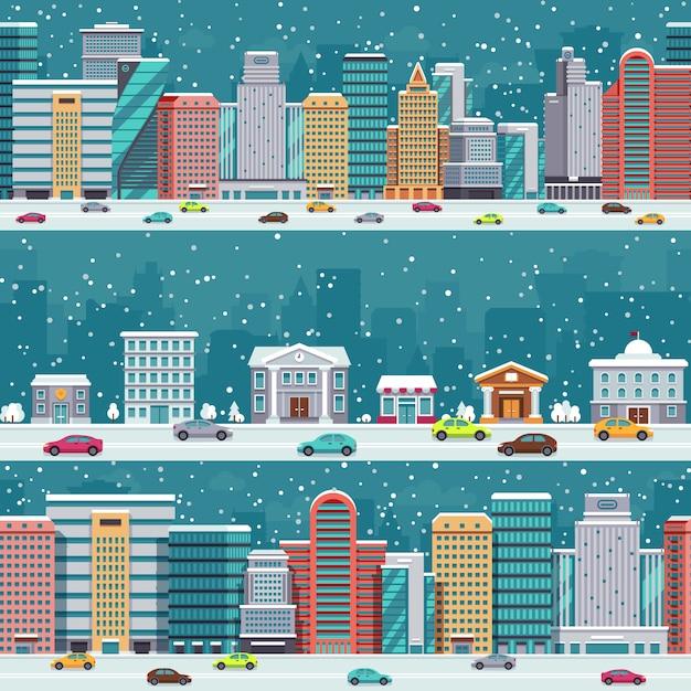 車や建物で冬の街。クリスマスの夜の街並みと降雪ベクトルを設定します。冬の街並み通り道路上の車で通り Premiumベクター