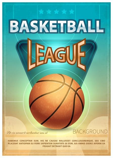 バスケットボールトーナメントスポーツベクトルポスター Premiumベクター