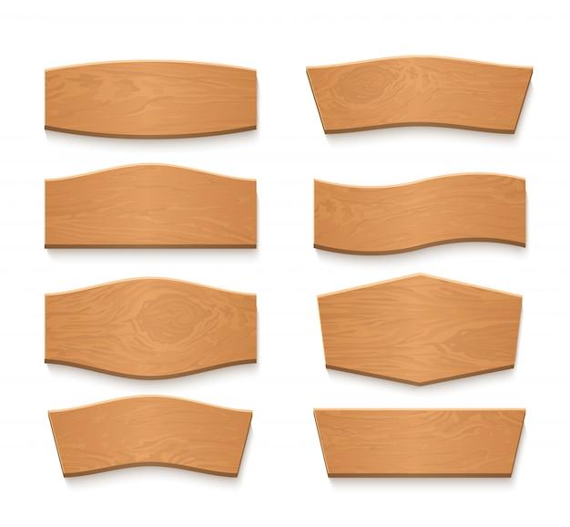 Мультфильм деревянная коричневая тарелка пустые векторные баннеры. набор старинных деревянных лент Premium векторы