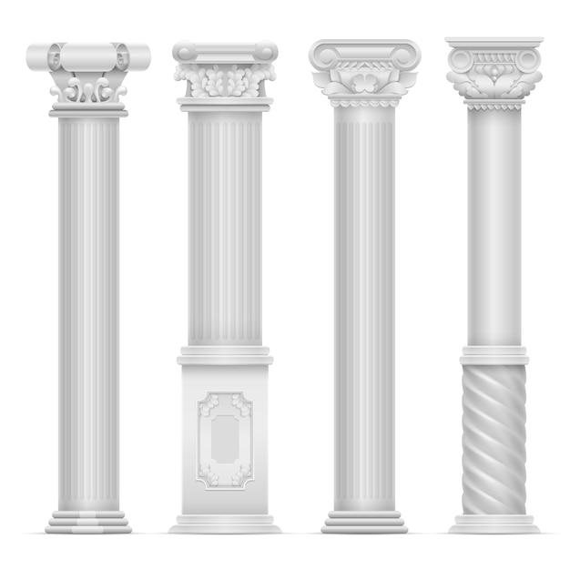Реалистичные белый античный римский столбец векторный набор. строительство каменных колонн. античная строительная архитектура столбец иллюстрация Premium векторы