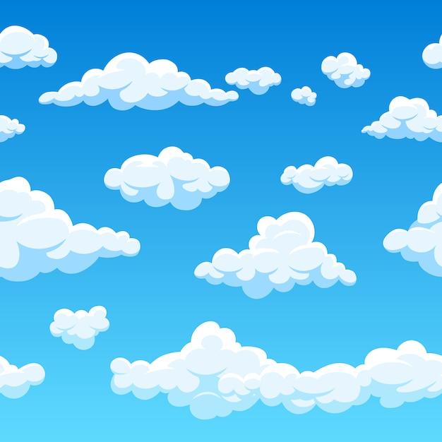 シームレスパターン雲と青い空の図 Premiumベクター