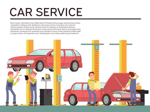 自動車サービスと車両チェックの車とメカニックのユニフォーム Premiumベクター