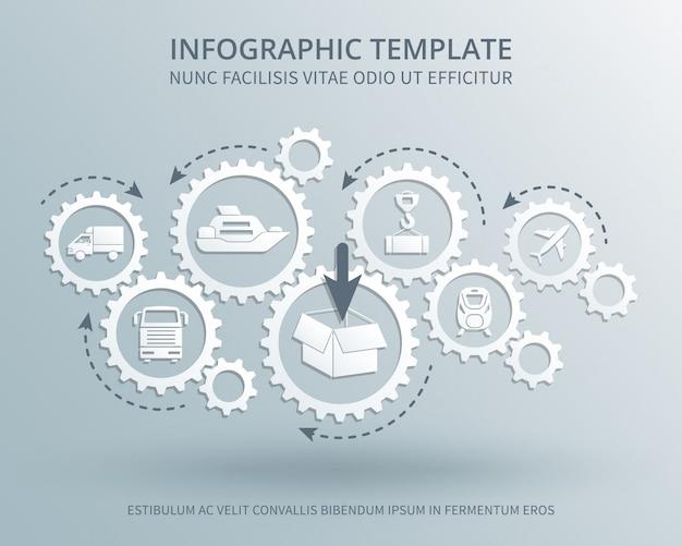 Бизнес-концепция доставки и распределения с иконками механизма передач, транспорта, упаковки и доставки Premium векторы
