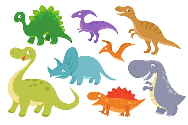 Симпатичные карикатуры динозавров - векторный рисунок. веселые динозавры для детской коллекции Premium векторы