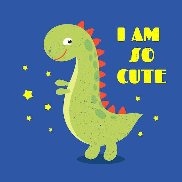 Детская футболка с надписью милый динозавр Premium векторы