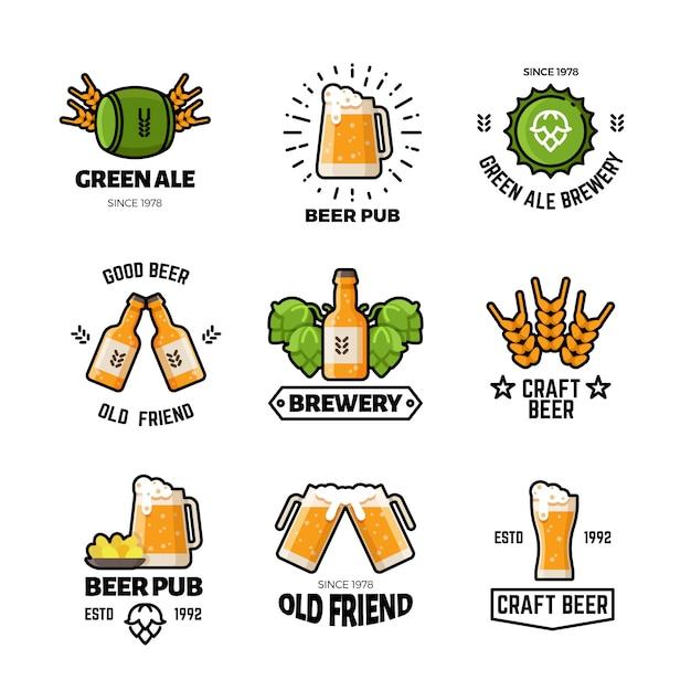 ビールパブベクトルのロゴとエンブレム。醸造所および醸造業のビンテージラベル Premiumベクター