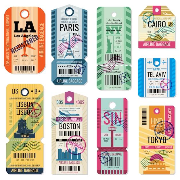 Ретро дорожные багажные этикетки и багажные билеты с векторной коллекцией символа полета Premium векторы