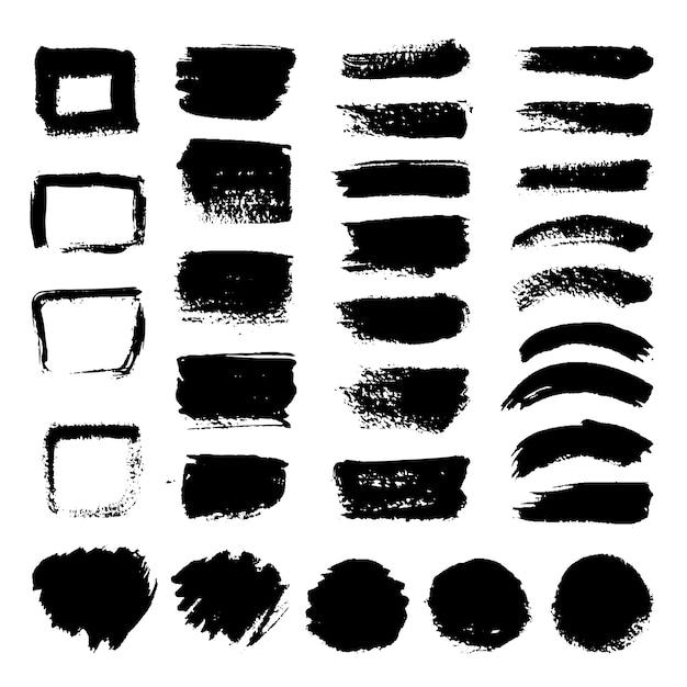 インク黒アートブラシベクトルを設定します。汚いグランジはストロークを描いた。黒いペンキとブラシストロークの汚れたグランジイラスト Premiumベクター