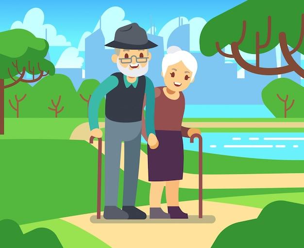 幸せな漫画愛屋外で年上の女性。老夫婦の公園のベクトル図 Premiumベクター