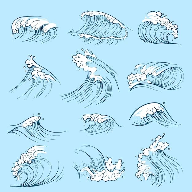 海の波をスケッチします。手描きの海洋ベクトル潮汐。波水嵐海イラスト Premiumベクター