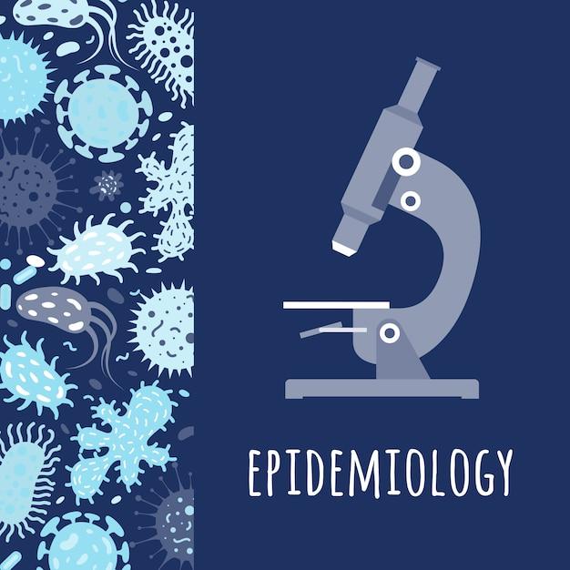 Постер с микроскопом и микробами Premium векторы