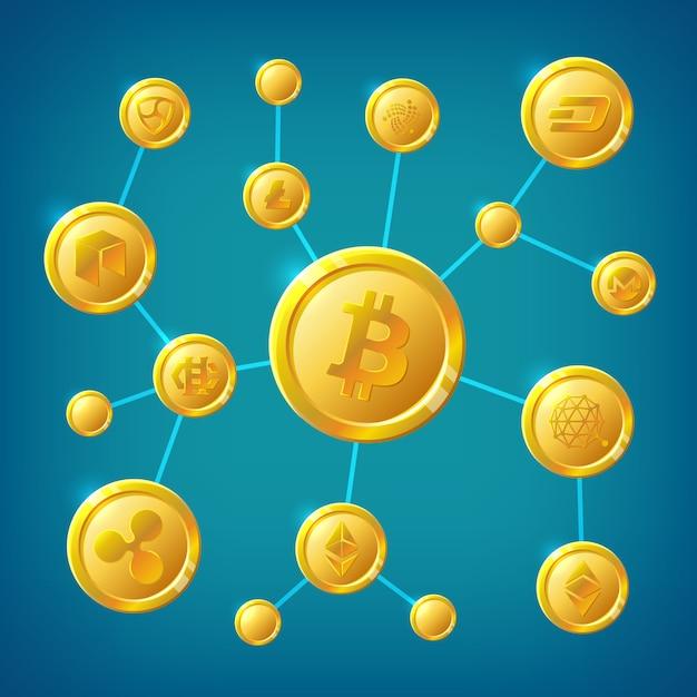 ブロックチェーン、暗号通貨およびビットコインの分散匿名インターネットトランザクションベクトルの概念 Premiumベクター