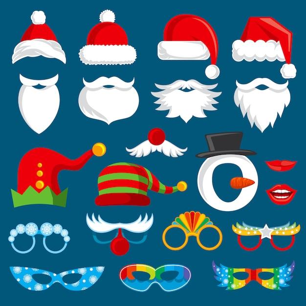 クリスマス休暇の写真ブースの小道具ベクトルコレクション。クリスマスサンタパーティー写真プロップセット Premiumベクター