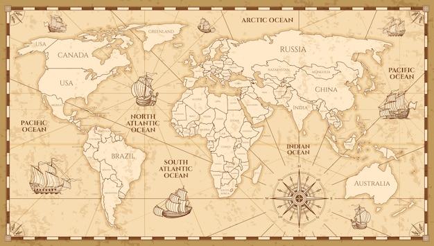 国の境界を持つベクトルアンティーク世界地図 Premiumベクター