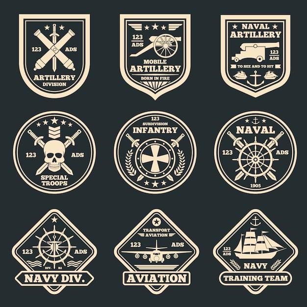 ビンテージの軍と軍のベクトルエンブレム、バッジとラベル Premiumベクター