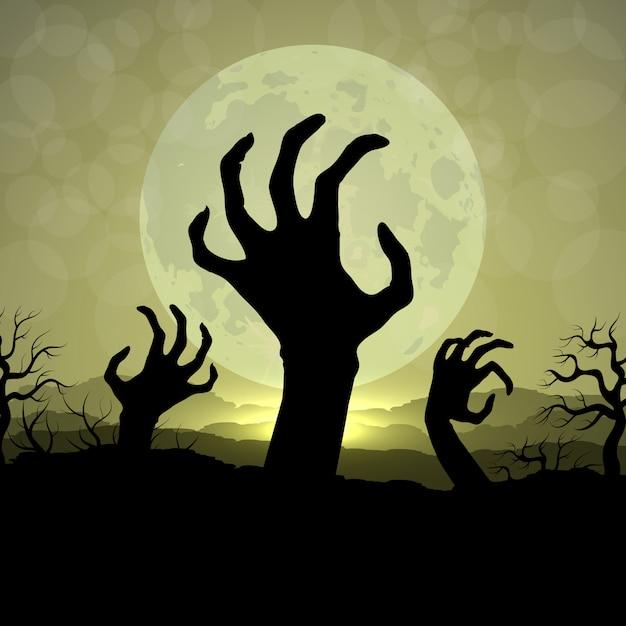 Руки зомби в ночь хэллоуина на фоне луны Premium векторы