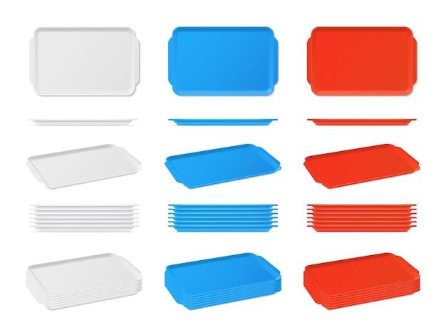 ハンドル付きの現実的なプラスチック製の空白の食品トレイ。長方形キッチン Premiumベクター