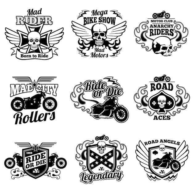 Старинные этикетки мотоцикла. мотоцикл вектор ретро значки и логотипы Premium векторы