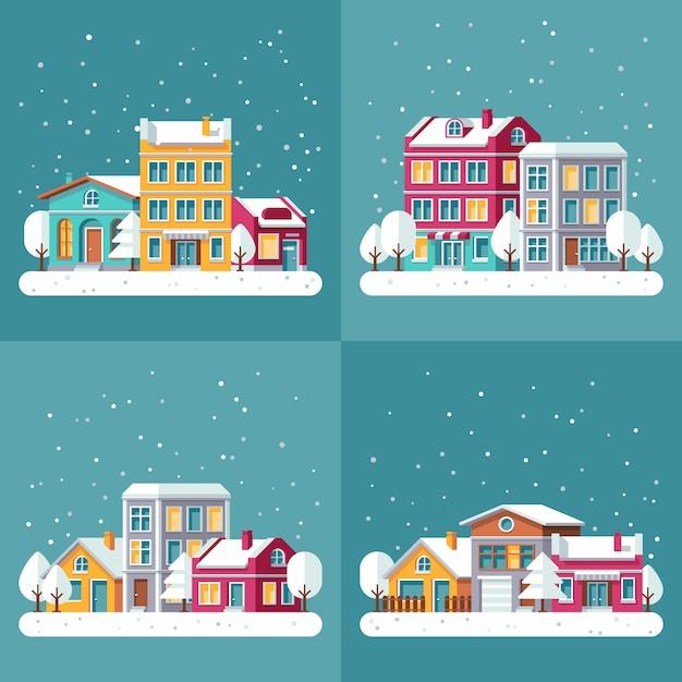 クリスマス冬休日のベクトルの背景は街の通りに設定します。冬の町の風景、雪のイラストの家の村の建物 Premiumベクター