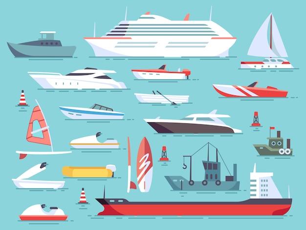 海のボートと小さな漁船の大規模なセット。ヨットフラットベクトルアイコン Premiumベクター