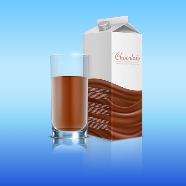 Шоколад реалистично со стеклянной чашкой. вектор шаблон пакета молочный шоколад напиток иллюстрации Premium векторы