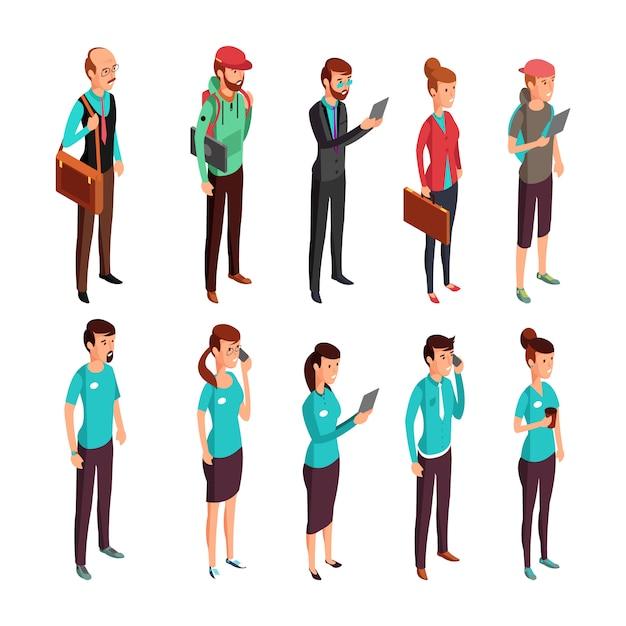 企業服等尺性のイラストランダムなドレスと企業で立っている人女と男