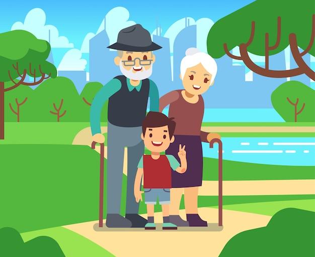 幸せな漫画公園のベクトル図の孫と年上のカップル。祖父と祖母が一緒に孫 Premiumベクター