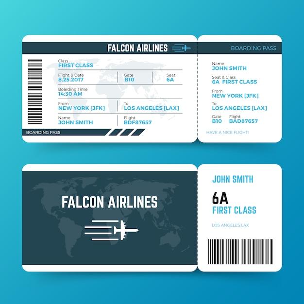 現代航空旅行搭乗券チケットベクトルテンプレート Premiumベクター