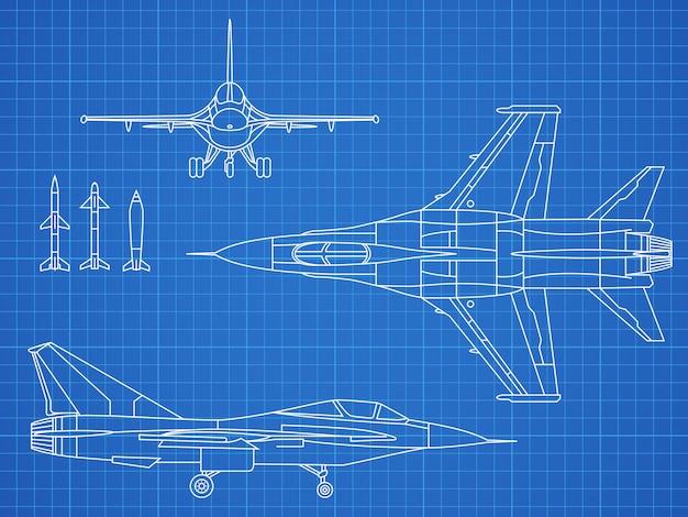 軍用機の図面ベクトル青写真デザイン Premiumベクター