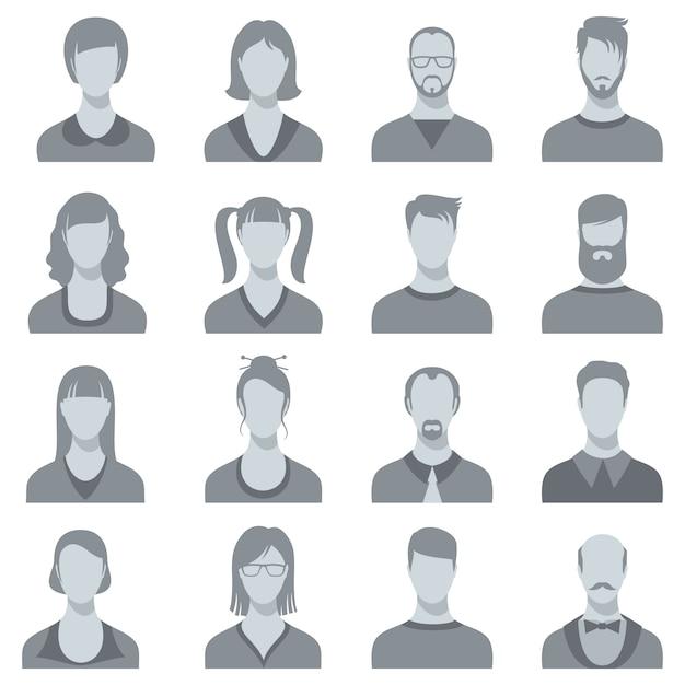 男と女のベクトルの顔の肖像画のシルエット。男性と女性の頭 Premiumベクター