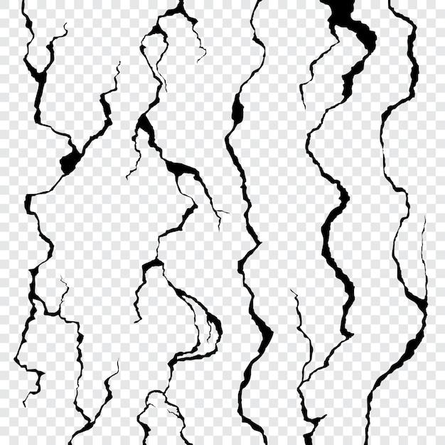 透明に分離された壁の亀裂 Premiumベクター