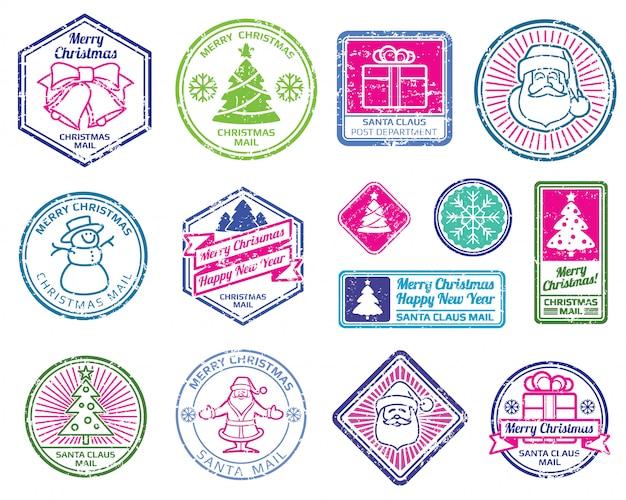 Рождественские санта почтовые марки Premium векторы