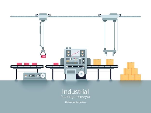 工業生産工場コンベアフラットベクトル図 Premiumベクター
