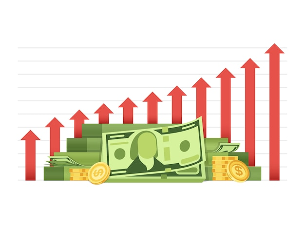 Диаграмма растущего бизнеса с кучей денег наличными финансовая концепция вектор Premium векторы