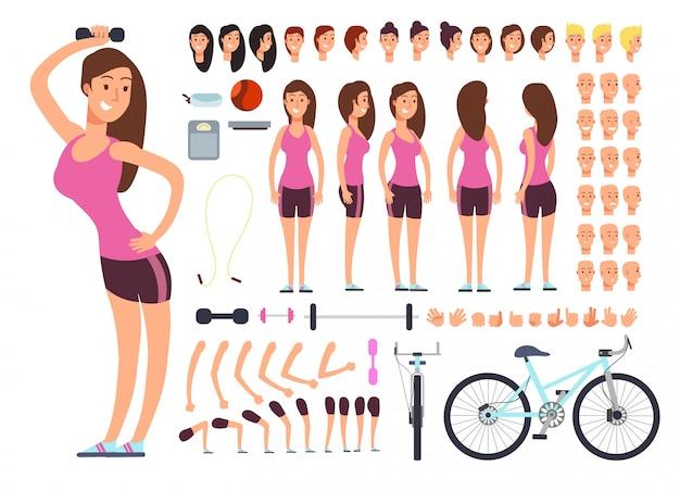 若いフィットネス女性、スポーツウーマン。女性の身体部分とスポーツ用品の大きなセットを持つベクトル作成コンストラクター Premiumベクター