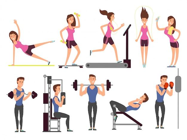 体操、ボディポンプトレーニングベクトル漫画スポーツ男と女のキャラクターと設定。フィットネスの人々 Premiumベクター