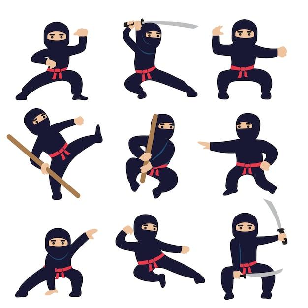 Мультяшные смешные воины. ниндзя или самурай векторных символов Premium векторы