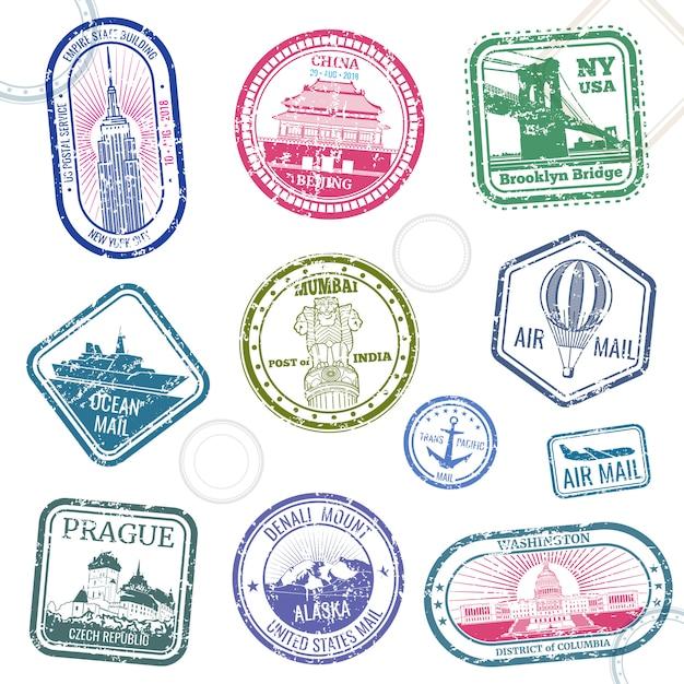 国際的なシンボルと有名な商標のビンテージパスポート旅行ベクトルスタンプ Premiumベクター